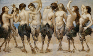 Eight Dancing Women in Bird Bodies by Hans Thoma. Fine art print