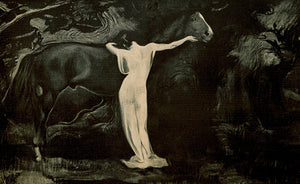 Brünnhilde with a horse. Valkyrie, warrior maiden, of Norse mythology. Fine art print