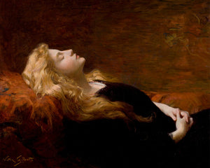 Repose by Victor Gabriel Gilbert. Sleeping woman painting. Fine art print