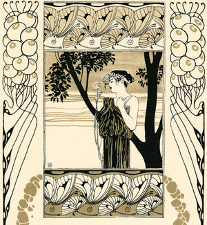 Spring. Forest nymph with flower. Art Nouveau illustration by Koloman Moser. Fine Art Print