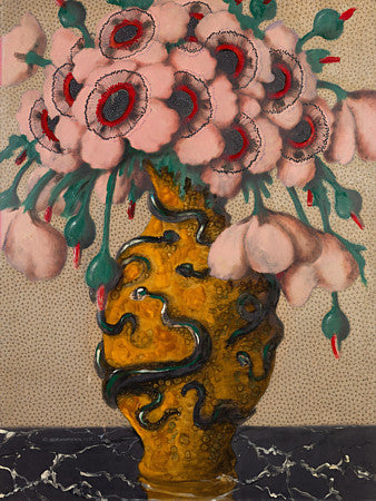 Painting of Pink Flowers in a Yellow Vase with snakes. Fine art print