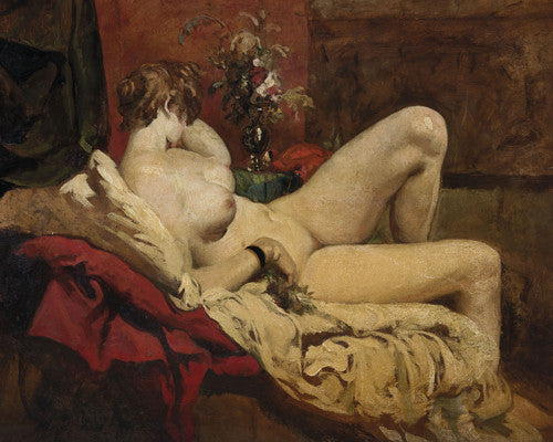 Reclining female nude painting. Fine art print