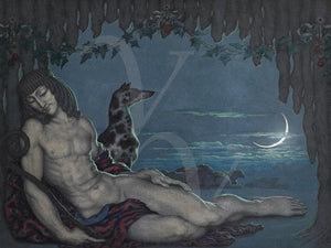 Endymion and dog under a crescent moon. Fine art print