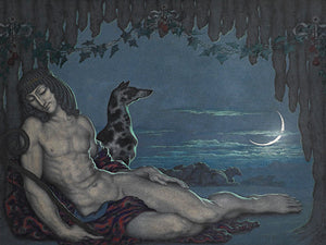 Endymion and dog under a new moon. Fine art print