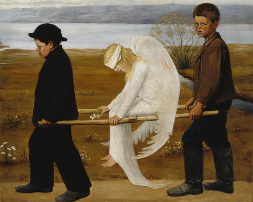 The Wounded Angel by by Hugo Simberg. Finnish Symbolist painting. Fine art print