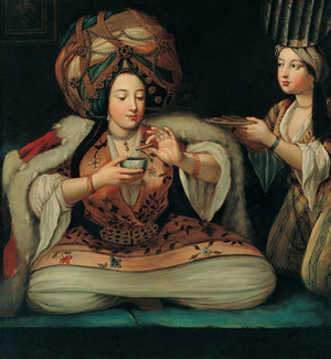 An Ottoman Turkish lady enjoying a coffee. Antique painting. Fine art print