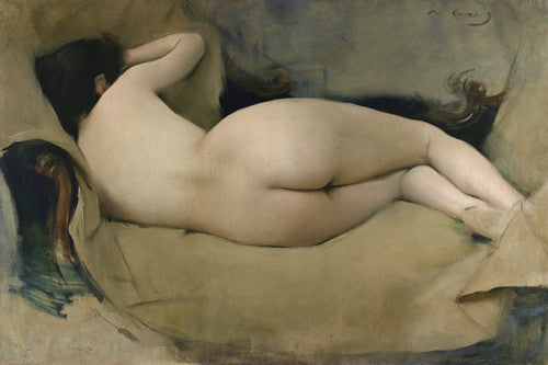 Sleeping female nude. Antique painting. Fine art print