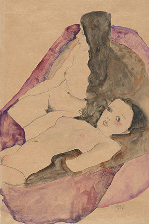 Two Reclining Nudes painting by Egon Schiele. Fine art print