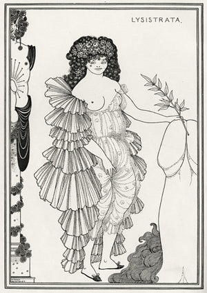 Lysistrata shielding her Coynte. Erotic illustration by Aubrey Beardsley from the Lysistrata of Aristophanes