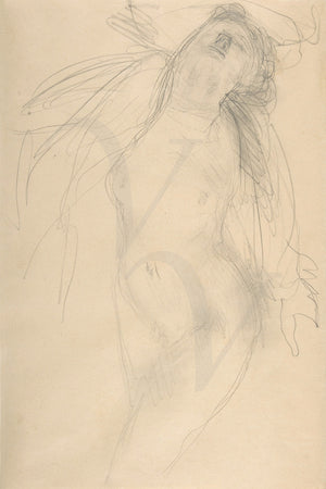 Female nude reclining. Drawing by Auguste Rodin. Fine art print