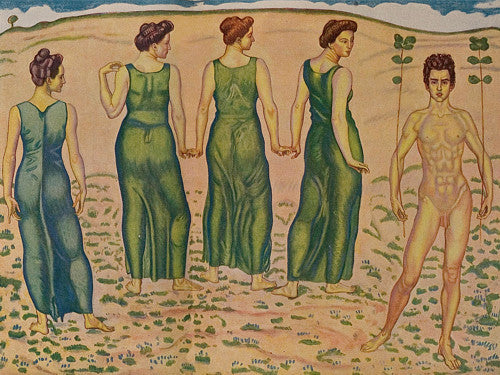 A young man and women in a landscape by Ferdinand Hodler. Fine art print
