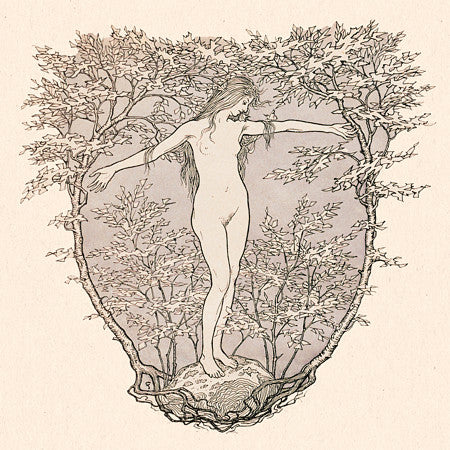 Pagan nature nude illustration. Female in the forest. Fine art print