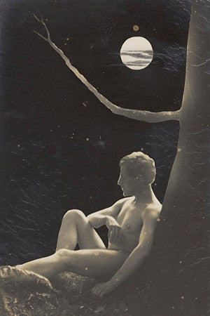 Male nude on a moonlit night. Vintage gay art print