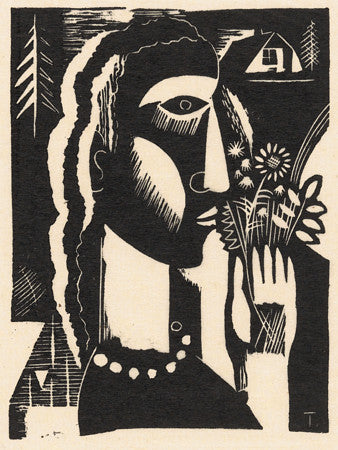 Woman Holding Flowers. Vintage black and white linocut. Fine art print