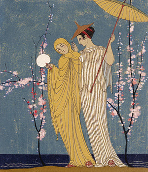 Chansons de Bilitis lovers by Georges Barbier. Fine art print
