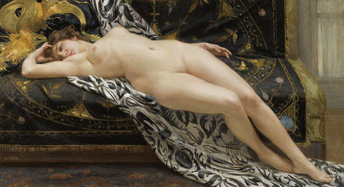 L'Abandon by Guillaume Seignac. Reclining decadent female nude painting. Fine art print