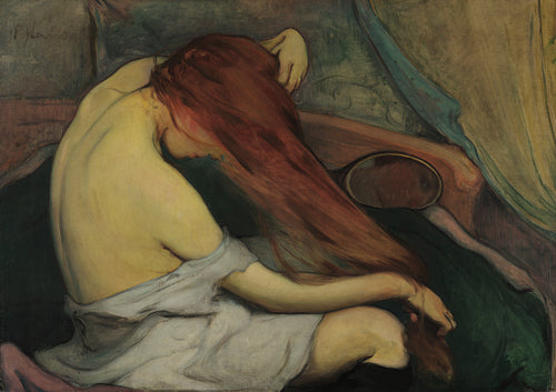 Woman Combing Her Hair Painting. Fine Art Print