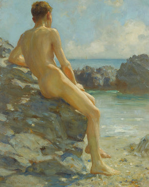 The Bather by Henry Scott Tuke. Male nude on beach painting. Fine art print
