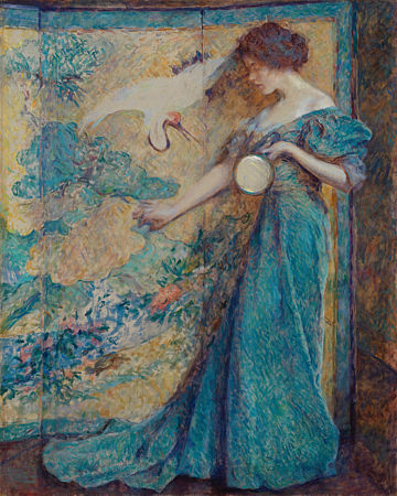 The Mirror by Robert Reid. Painting of a woman in a blue dress holding a mirror, in an exotic interior. Fine art print