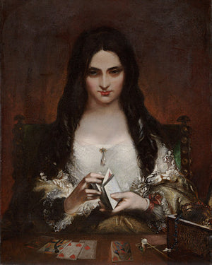 The Wish by Theodor von Holst. Fortune teller painting. Fine art print