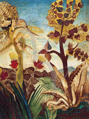 Art Deco Landscape. Tropical Trees and Plants. Fine Art Print