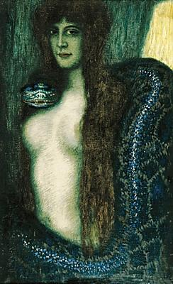 Sin by Franz von Stuck. Woman with snake painting. Fine art print