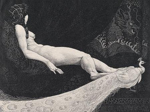 Odalisque. Nude with Peacock. Fine Art Print