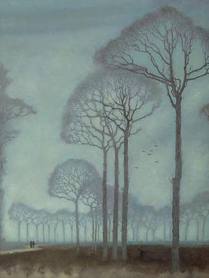 Row of Trees painting. Misty forest fine art print