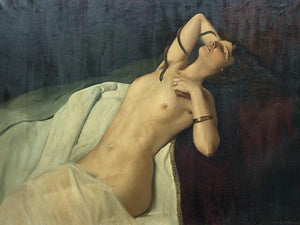 Cleopatra. Antique exotic reclining nude painting. Fine art print