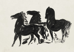 Three Black Horses ink painting. Fine art print