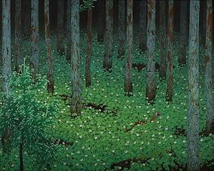 Forest trees painting. Fine art print