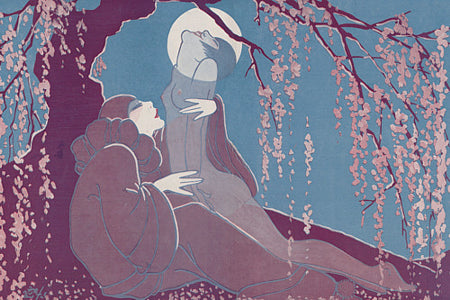 Female nude and Pierrot make love by moonlight. Fine art print
