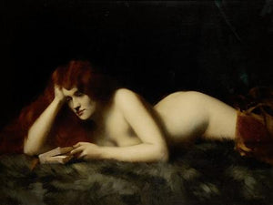 Nude Reading Book. Antique painting of female reading. Fine art print