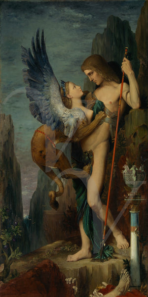 Oedipus and the Sphinx. Gustave Moreau Painting. Symbolist. Mythology. Fine Art Print