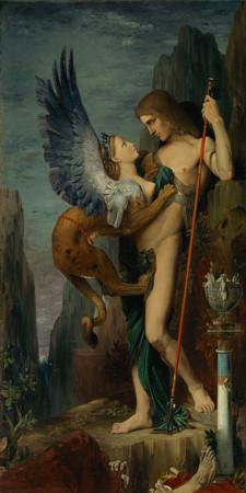 Oedipus and the Sphinx. Gustave Moreau Painting. Fine Art Print