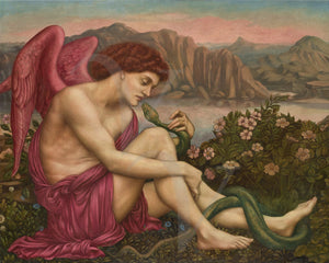 The Angel with the Serpent. Pre-Raphaelite painting by Evelyn de Morgan. Fine art print