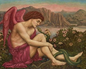 The Angel with the Serpent by Evelyn de Morgan. Fine Art Print