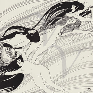 Fish Blood by Gustav Klimt. Black and White Sea Sirens Fine Art Print