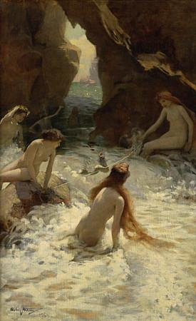 Sea Nymphs antique painting. Fine Art Print