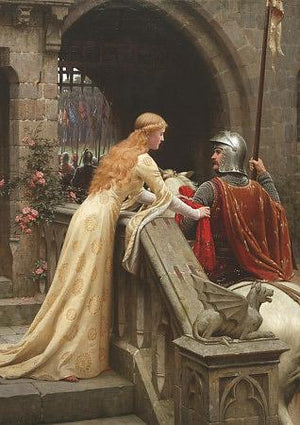 God Speed. Arthurian knights and maiden painting. Fine Art Print