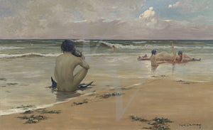 Sea Idyll by Rupert Bunny. Mermaids on beach painting. Fine art print