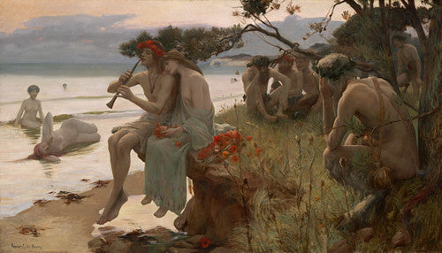 Pastoral by Rupert Bunny. Sea Nymph and Fauns by the ocean. Fine art print