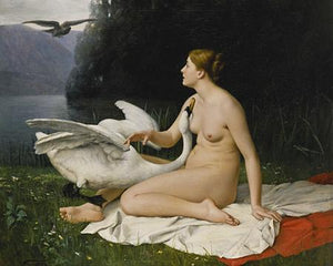 Leda and the Swan painting. Fine art print