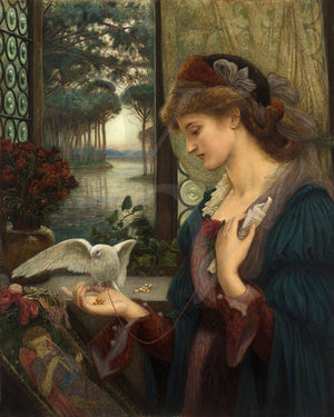 Love's Messenger. Woman with a dove. Pre-Raphaelite painting. Fine art print