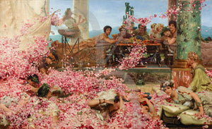 Painting of a Roman banquet. The Roses of Heliogabalus by Sir Lawrence Alma-Tadema. Fine Art Print
