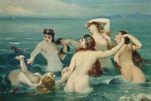 Mermaids Frolicking. Victorian sea nymphs painting. Fine art print