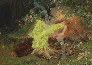 Fairy Tale. Victorian painting of woman asleep in forest with animals. Fine art print