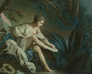 Nymph Bathing. Rococo Painting. Fine Art Print