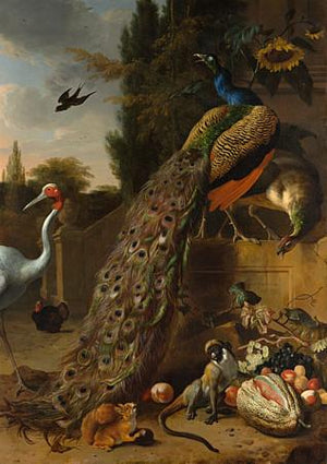 Peacocks and birds in a Classical setting. Antique painting-Fine art print