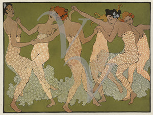 Art Nouveau dancing women. Spirit of nature nudes fine art print